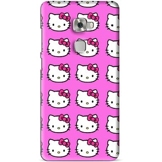 Snooky Printed Pink Kitty Mobile Back Cover For Huawei Mate S - Multi