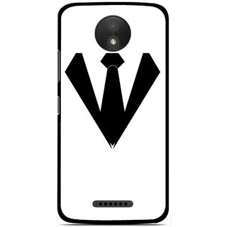 Snooky Printed Tie Collar Mobile Back Cover For Motorola Moto C Plus - Multicolour