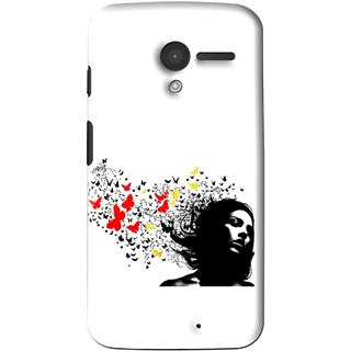 Snooky Printed Butterfly Girl Mobile Back Cover For Moto X - Multi