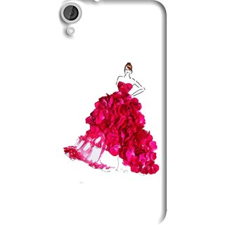 Snooky Printed Rose Girl Mobile Back Cover For HTC Desire 820 - Multi