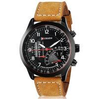 Curren Round Dial Black Leather Quartz Watch For Men