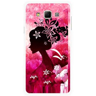 Snooky Printed Pink Lady Mobile Back Cover For Samsung Galaxy E7 - Multicolour