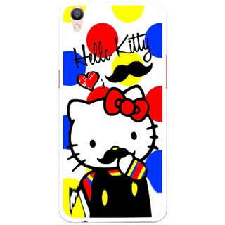 Snooky Printed moustache Kitty Mobile Back Cover For Oppo F1 Plus - Multi