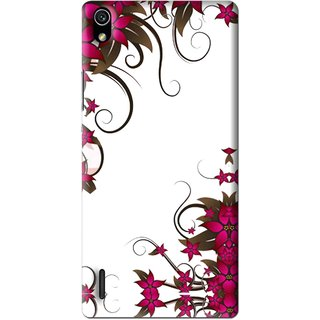 Snooky Printed Flower Creep Mobile Back Cover For Huawei Ascend P7 - Multi