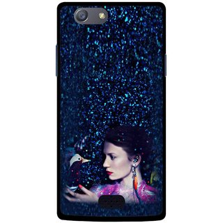 Snooky Printed Blue Lady Mobile Back Cover For Oppo Neo 5 - Multicolour