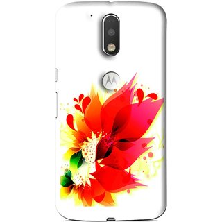 Snooky Printed Flowery Red Mobile Back Cover For Moto G4 Plus - Multi