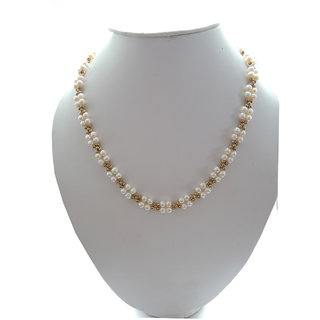 Fresh water Pearl Necklace adorn with Golden tone metal beads