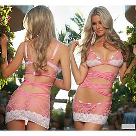 Hot one piece Lace Transparent babydoll nightwear with straps wrap  bra style