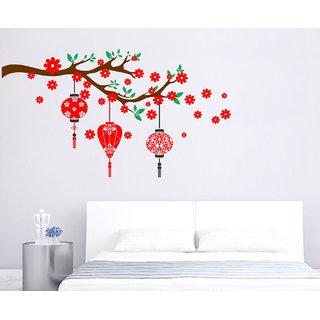 EJAart Lantern Red Flower Removable Wall Sticker