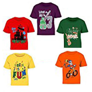 Pari  Prince Muticolor kids round neck tshirt (Pack of 5)