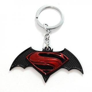 Stuard Batman vs Superman / Bat Man / DC Comics / Superhero Metal Keychain / Keyring / Key Ring / Key Chain Red Black