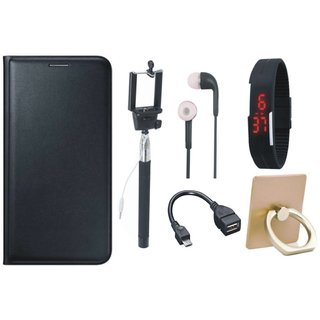 Vivo Y55L Cover with Ring Stand Holder, Selfie Stick, Digtal Watch, Earphones and OTG Cable