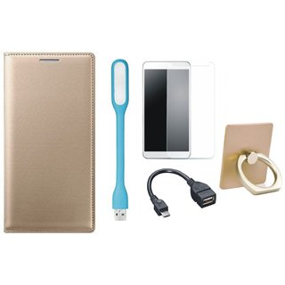 Lenovo K8 Luxury Cover with Ring Stand Holder, Tempered Glass, USB LED Light and OTG Cable