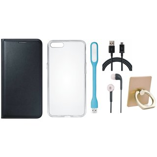 Vivo Y55L Cover with Ring Stand Holder, Silicon Back Cover, Earphones, USB LED Light and USB Cable