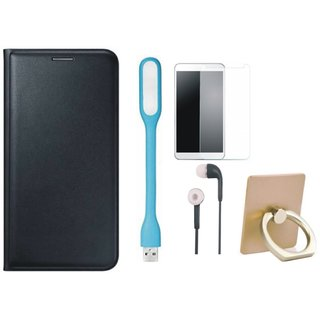 Vivo Y55L Stylish Cover with Ring Stand Holder, Tempered Glass, Earphones and USB LED Light