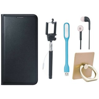 Motorola Moto E4 Leather Flip Cover with with Ring Stand Holder, Selfie Stick, Earphones and USB LED Light