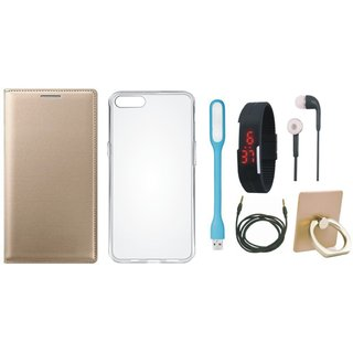 Oppo A71 Luxury Cover with Ring Stand Holder, Silicon Back Cover, Digital Watch, Earphones, USB LED Light and AUX Cable