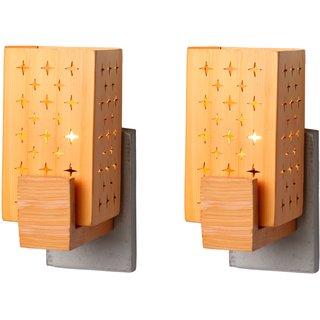 Somil Designer Wooden Wall Lamp (Set Of 2)