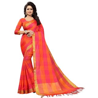 Ozon Designer Fab Red Cotton Saree with blouse