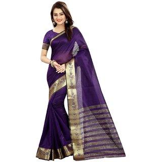 Ozon Designer Fab Purple Cotton Silk Saree with blouse