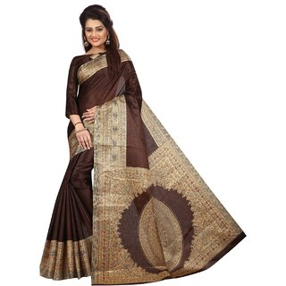 Ozon Designer Fab Brown Cotton Saree with blouse