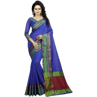 Ozon Designer Fab Blue Cotton Silk Saree with blouse
