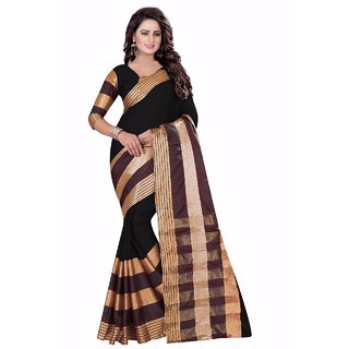 Ozon Designer Fab Black Cotton Silk Saree with blouse