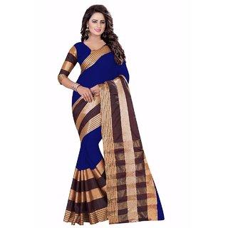 Ozon Designer Fab Blue Cotton Silk Saree with blouse