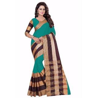 Ozon Designer Fab Green Cotton Silk Saree with blouse