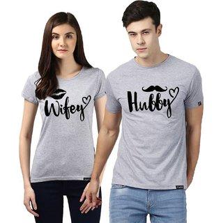 Hubby Wifey Grey Color Couple Combo T shirt
