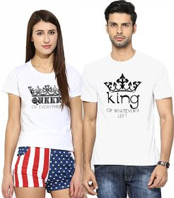 King Of Whatever's Left Queen Of Everything White Color Couple Combo T shirt