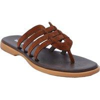 DK Brown Color Women's Leather Flats - SWANSIND