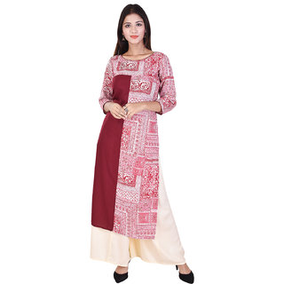 WHIY Maroon Colour Printed Cotton Round Neck Kurti with Off White Colour Palazzo