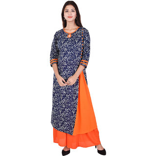 WHIY Blue & Orange Colour Printed Cotton Round Neck Kurti with Orange Colour Palazzo
