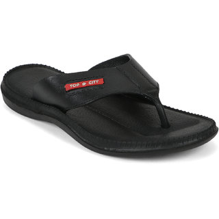 Edee PU PVC Black Casual Slippers For Men