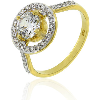 Joal Solitaire Collection Yellow 925 Sterling Silver Cubic Zirconia Rings For Womens