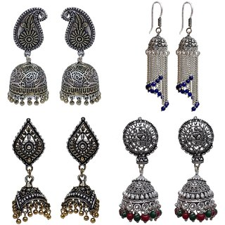 Lucky Jewellery Trendy Various Color Oxidised Plating Earring combo of 4 pcs for Girl & Women