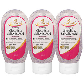 CareVeda Glycolic Acid And Salicylic Acid Face Wash Pack of 3