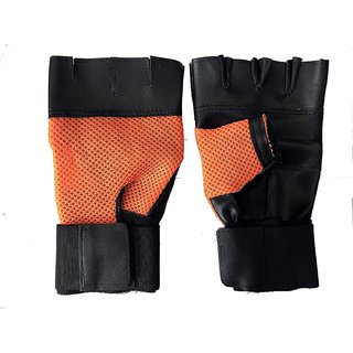 CP Bigbasket Netted Wrist Support Gym  Fitness Gloves (orange)