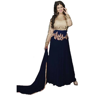 Aika Womens Net And Georgette Designer Anarkali Gown (Free SizeBlue)-GO022-Classic Gold-Blue