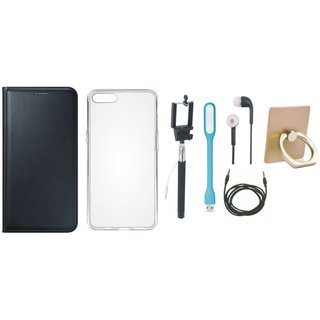Vivo V7 Leather Cover with Ring Stand Holder, Silicon Back Cover, Selfie Stick, Earphones, USB LED Light and AUX Cable