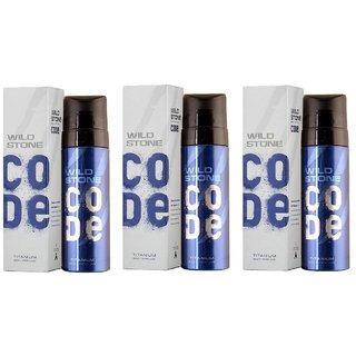 Wild Stone Code Titanium Perfume Body Spray  Pack of 3 Combo 120ML each 360ML