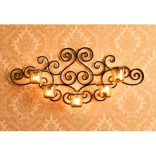 Hosley Decorative 5 Cup Wall Sconce/Candle Holder With Luster Amber Glass and Free T-Lights Candles (Black Matte)