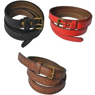 Rags Style Combo of 3 Faux Women Leather Casual Belt (Red, Brown, Black)