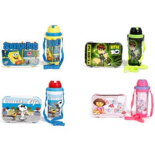 Jewel Smart Lock Lunch box with World Safari Water Bottle for KIds (Peanut)