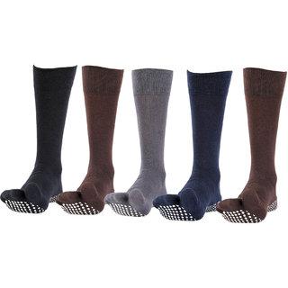 NOFALL Mens Antislip Socks Split Toe with NOFALL Grip (Pack of 5 PAIRS)