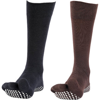 NOFALL Mens Antislip Socks Split Toe with NOFALL Grip (Pack of 2 PAIRS)