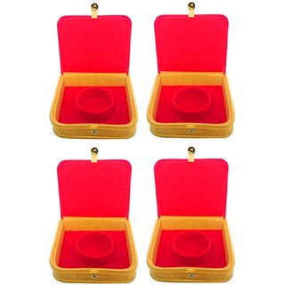Atorakushon Pack of 4 Pcs Mini Bangle Bracelet Box Travel Gift Jewellry Case Organizer Makeup Vanity Box (Beige Red