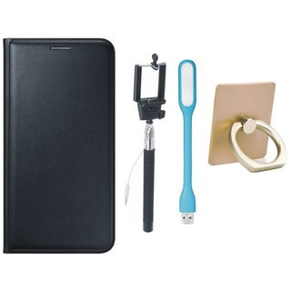 Oppo F1 Plus Leather Flip Cover with with Ring Stand Holder, Selfie Stick and USB LED Light