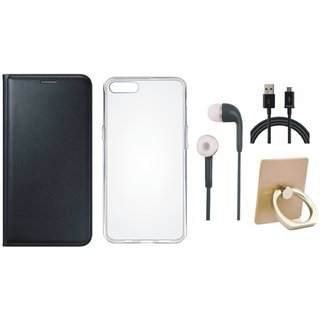 Moto C Plus Leather Cover with Ring Stand Holder, Silicon Back Cover, Earphones and USB Cable
